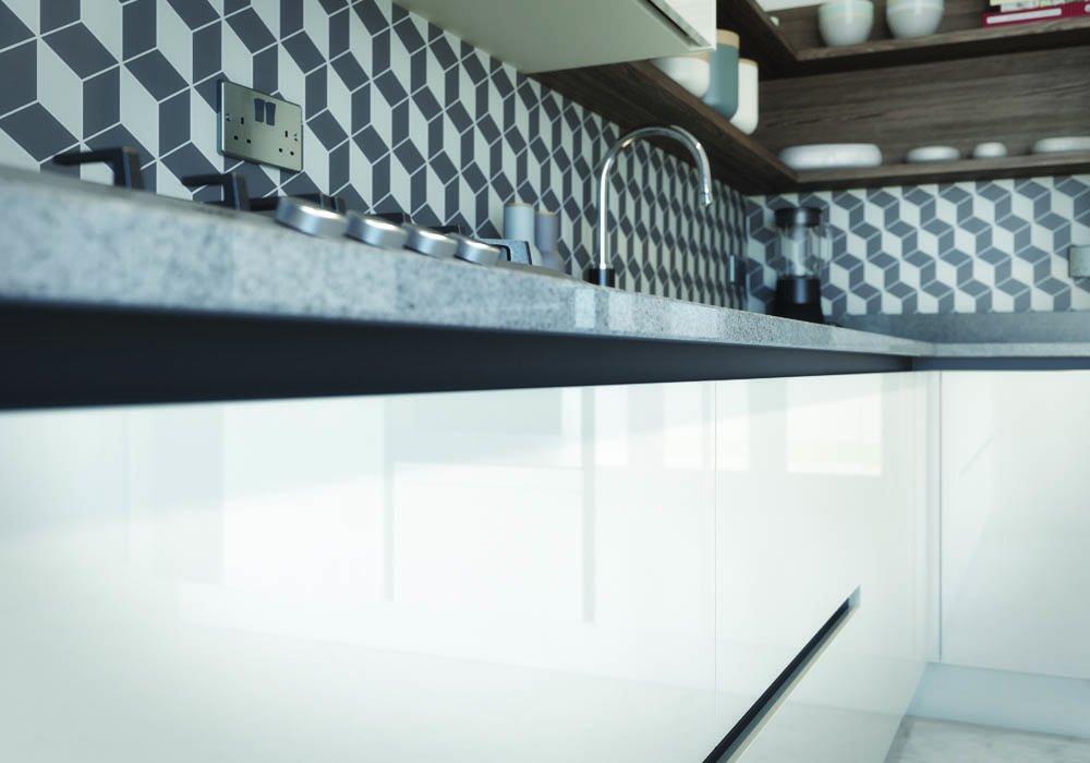 Mode Gloss White & Gloss Light Grey Detail